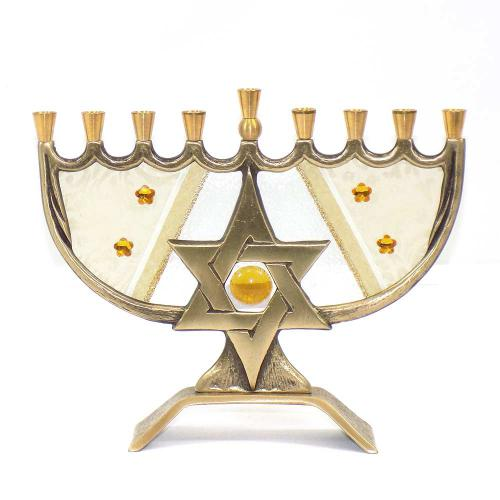 Lace Star Glass And Metal Menorah - Made In Israel