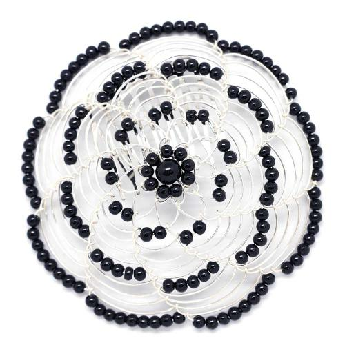Black And Silver Beaded Lady's Head Covering