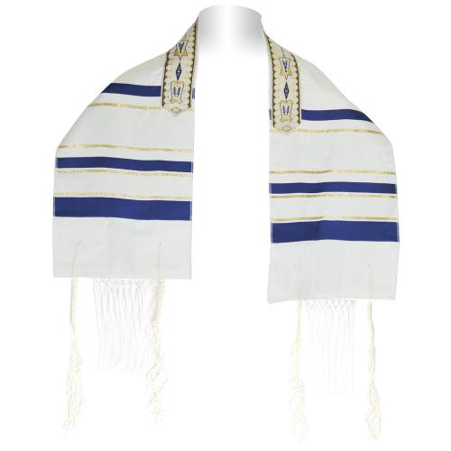 Child's Zion Menorah Blue And Gold Talis