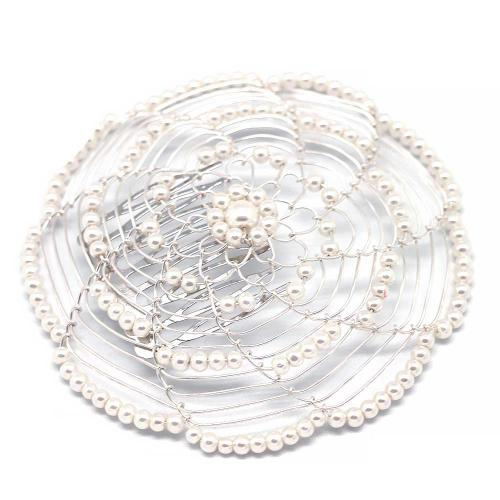 Ivory And Silver Beaded Lady's Head Covering