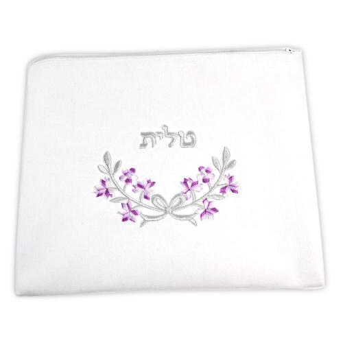 Zion Talis Purple And Silver Floral Talis Bag
