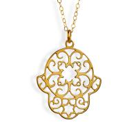 Gold Plated Elegant Lace Hamsa Necklace