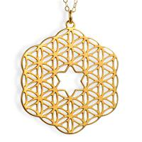 Gold Plated Flower Of Life Jewish Star Necklace