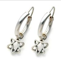 Jewish Jewelry - Silver Hoop Earring With Star Of David