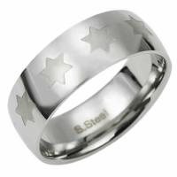 Stainless Steel Jewish Star Ring Band